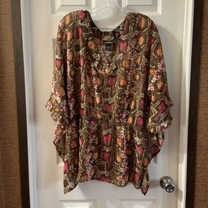 Lane Bryant Snake Print Cinched Waist Blouse 18/20